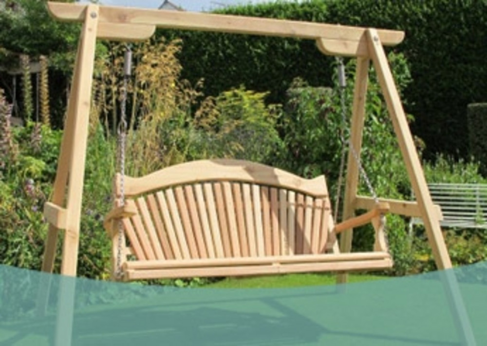 Serenity Garden Swing Seat In Western Red Cedar Sitting