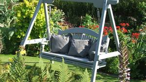 Painted Swing Seat in the Garden