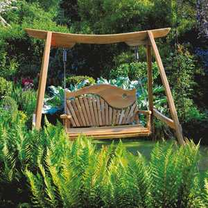 Garden Swing Seat Kyokusen in Curved Oak