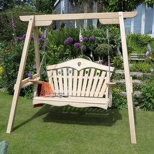 Wooden Swing Seat with Frame in the Garden