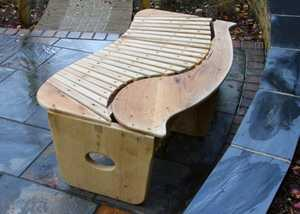 Carved, outdoor Oak bench