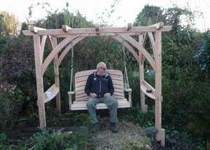 Martin on the newly assembled Pergola