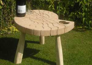 Outdoor Oak Ammonite Table from Sitting Spiritually