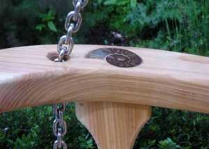 Wooden Swing Seats with Inset Ammonites UK