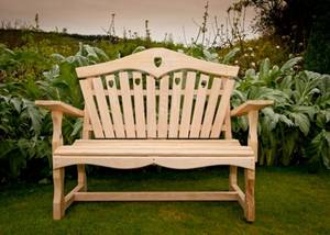 Garden Bench with Heart Back