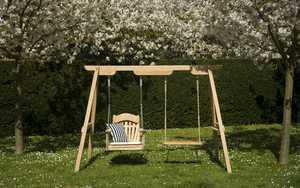 A Frame Garden Swing Seat with swinging chair and rope swing