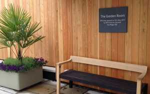 Floating Bench Contemporary Design on display at RHS Rosemoor Gardens