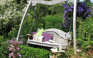 Oak Garden Swing Seat with Cushions