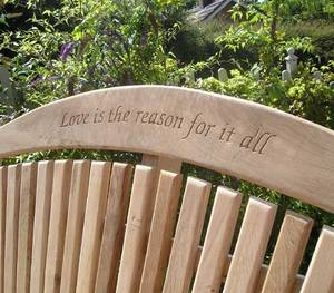 Garden Bench with Inscriptions