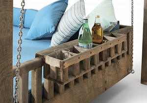 New for 2017 - The Swinging Day Bed See it on our Stand RHW at Chelsea Flower Show The Swinging Day Bed is the latest addition to our range, made in Oak to give longevity & strength it will fade over time to a majestic silvery grey, as shown.  All of