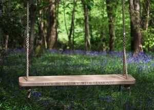 Two seater, wooden rope swing
