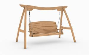Oak Kyokusen Swing Seat with Curve Back Design