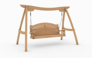 Oak Kyokusen Swing Seat with Fan Back Design