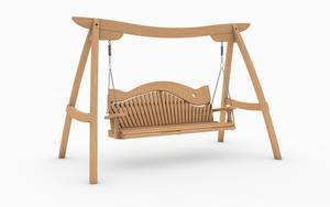 Oak Kyokusen Swing Seat with Swirl Back Design