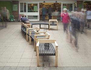 The Tudor Arcade project in Dorchester is a 12 metre long snaking curved seat with single chairs, 3 seater benches and side by side 'love seats' as well as areas of open 2 sided seating