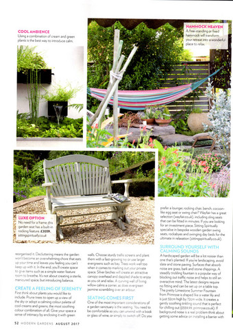 The Rockabye in Modern Gardens Magazine August 2017