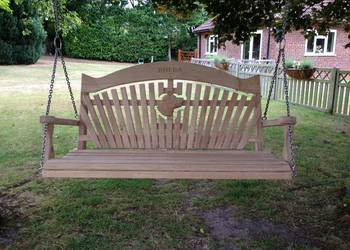 Garden Swing Seat with Dog Carving