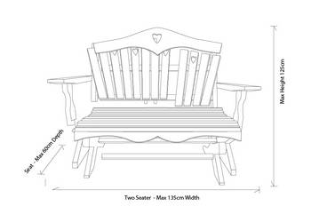 2 Seater Bench Dimension Measurements