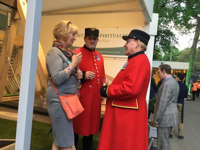 Celia chats with some Chelsea Pensioners