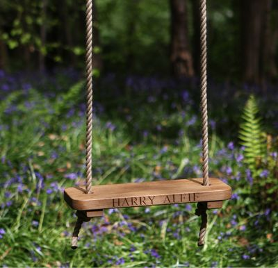 Children's Oak Rope Swing Carved