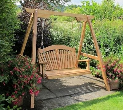 Oak Swing Seat RHS Rosemoor 2 seater Tranquillity Fan Back Swing Seat and frame