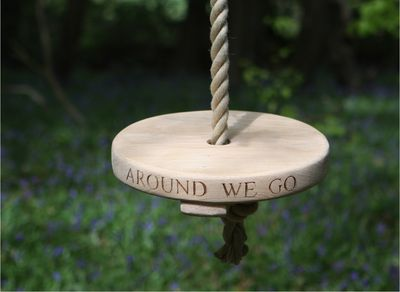 Round Carved Oak Rope Swing Bespoke