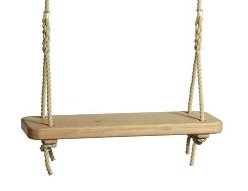 Single Oak Rope Swing For Adults And Children Sitting Spiritually