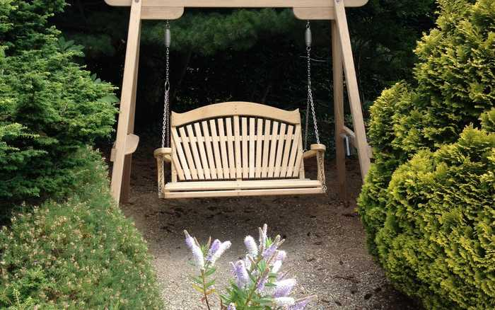 Swing Seat with Fan Back Design at Harold Hilliers Garden