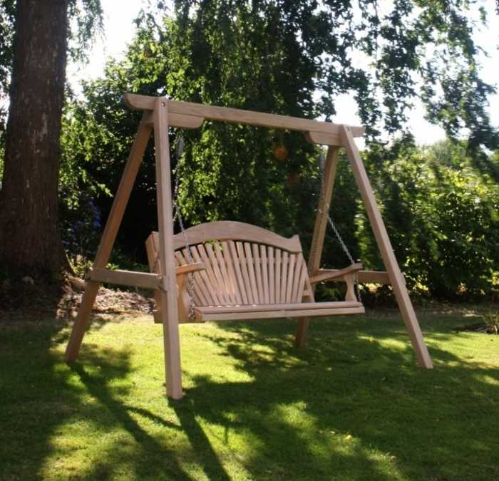 Tranquility Fan Back Garden Swing Seat on display at Forde Abbey