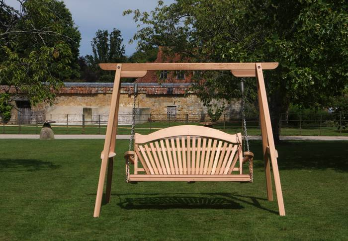 Wooden Garden Swing Seat on a Lawn