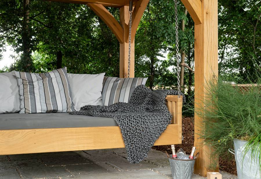 Swinging Day Bed with Cushions