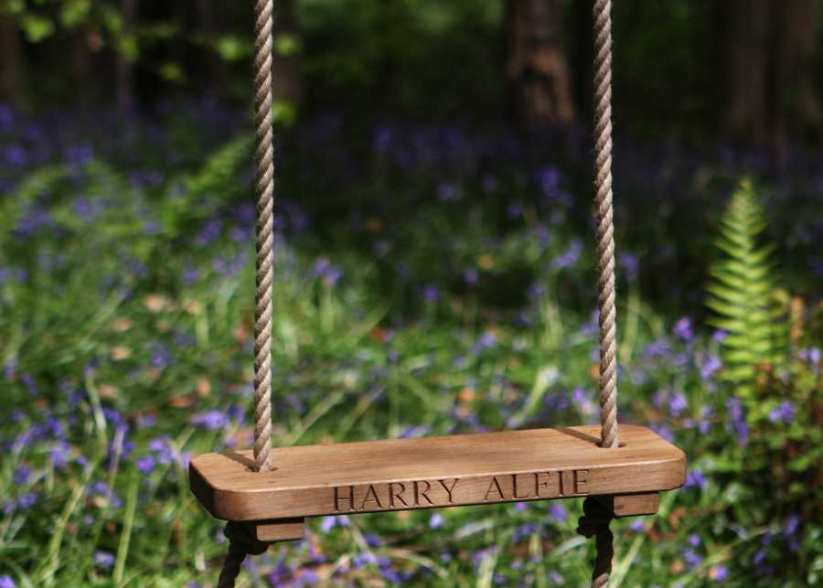 Childrens Rope Swing with Inscription