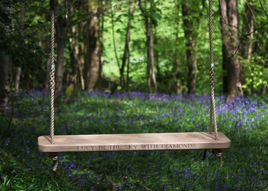 Double Oak Rope Swing with Inscription
