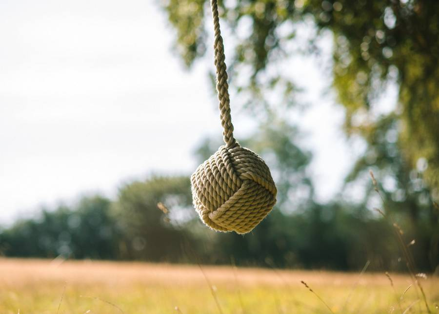 Round Oak Rope Swing with Inscription
