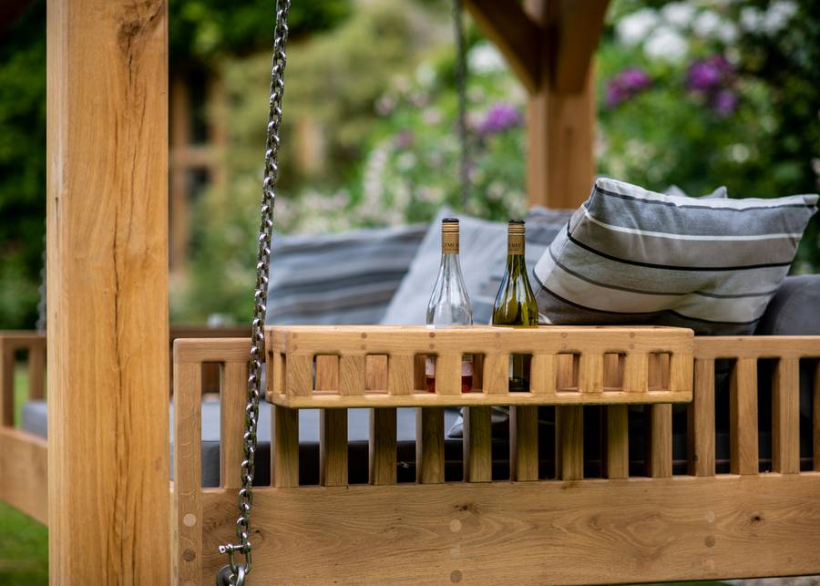 Swinging Day Bed Oak Bottle Holders