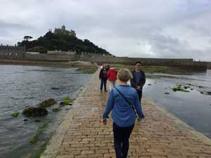 Celia setting off on The Causeway