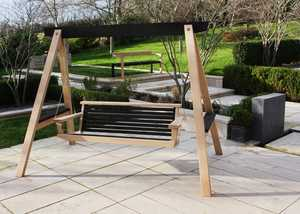 Contemporary Swing Seat with Scorched Oak Design