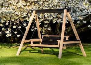Modern Garden Swing Seat with Floral Background