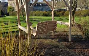 Oak Pergola and Swing Seat in place at Forde Abbey Gardens
