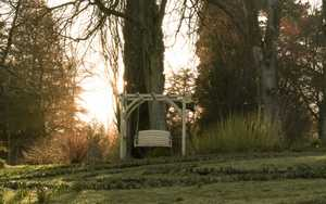 Swing Seat at Forde Abbey with Sun Setting in background