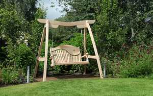 Swing Seat in the Garden with Curved Oak