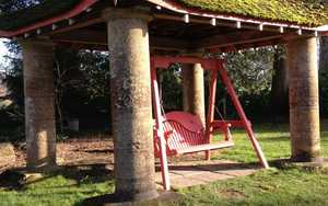 Swing Seat under structure at Forde Abbey Gardens
