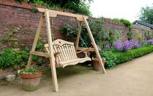 Wooden Swing seat at The Deer Park Hotel