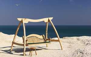 Wooden Swing Seat by the sea